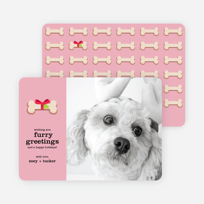 Furry Dog Holiday Cards - Pink