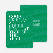 Good Friends & Good Cheer Holiday Party Invitations - Green