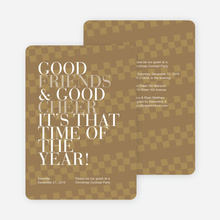 Good Friends & Good Cheer Holiday Party Invitations - Brown