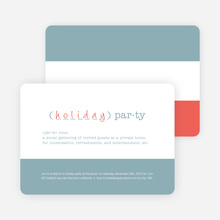 Holiday Party Definition Holiday Invitation - Vista Blue