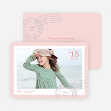 Holiday Stamps Photo Cards - Pink