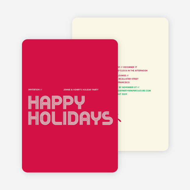 Modern and Retro Happy Holidays Splash Cards - Strawberry Red