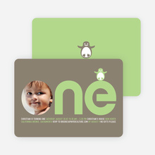 Penguin 1st Birthday Photo Invitation - Lime Green