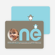 Penguin 1st Birthday Photo Invitation - Sky Blue