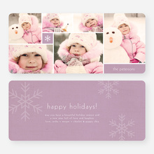 Unique Snowflakes Six Photo Holiday Cards - Purple