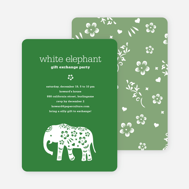 Holiday Party Invitations Paper Culture - Party invitation template: white elephant christmas party invitations templates