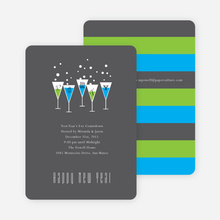 Champagne Party New Year's Invitations - Cornflower Blue
