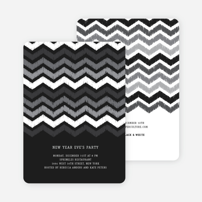 Chevron Stripes New Year's Invitations - Black