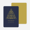Christmas Tree Flourish Holiday Cards - Gold