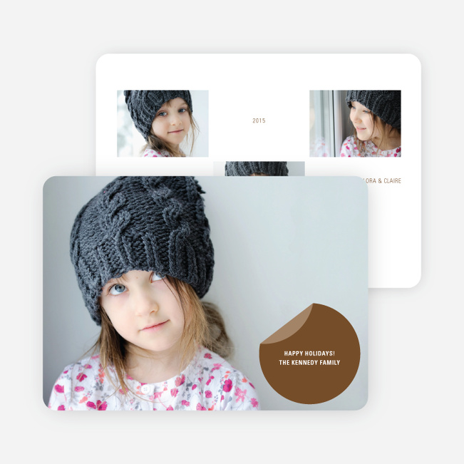 Circle Sticker Holiday Photo Cards - Latte