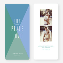 Joy, Peace, Love Portrait Holiday Cards - Green