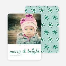 Merry & Bright Snowflake Holiday Cards - Green