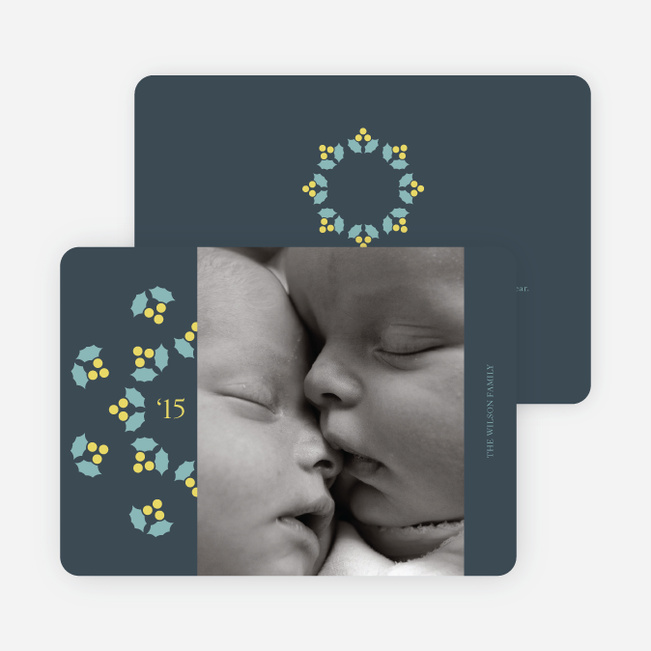 Mistletoe Holiday Photo Cards - Dusty Blue