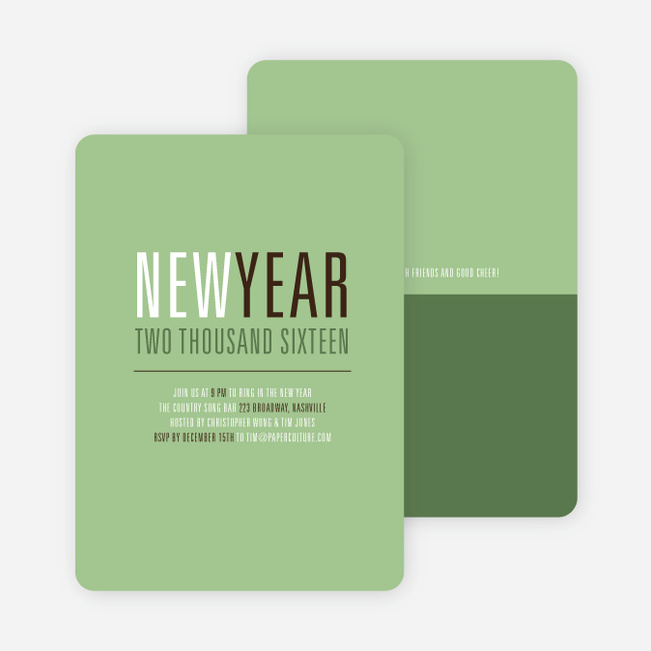 New Beginnings New Year's Invitations - Basil