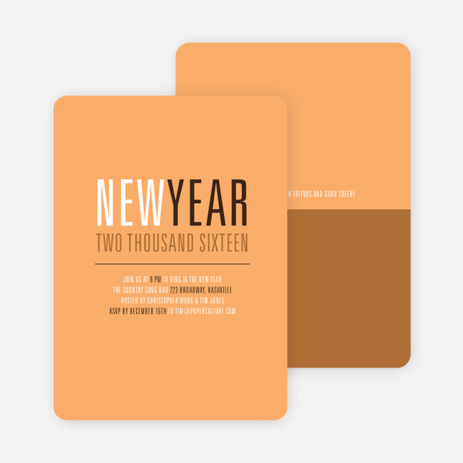 New Beginnings New Year's Invitations - Cantaloupe
