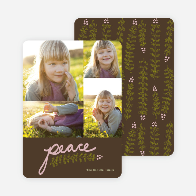 Peace and Love through Mistletoe Holiday Cards - Green