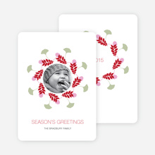 Pine Needles and Leaves Wreath Holiday Cards - Tomato Red