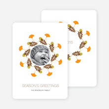 Pine Needles and Leaves Wreath Holiday Cards - Carrot