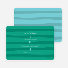 Striped Icons Holiday Invitations - Teal
