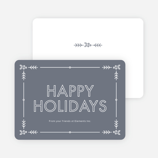 Holly Border Corporate Holiday Cards - Gray
