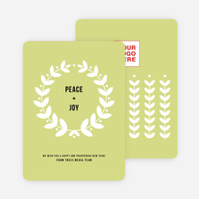 Joyful Wreath Corporate Holiday Cards - Green