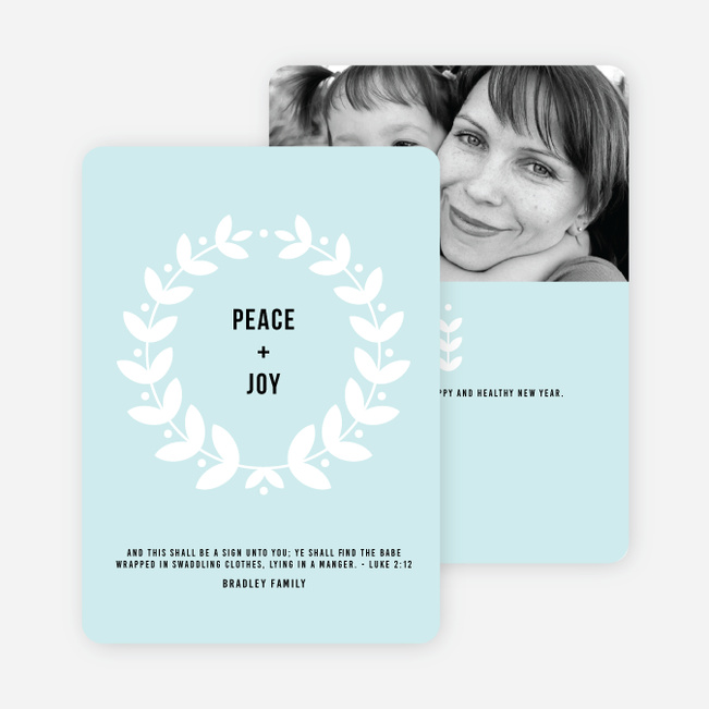 Peace Wreath Holiday Cards - Blue