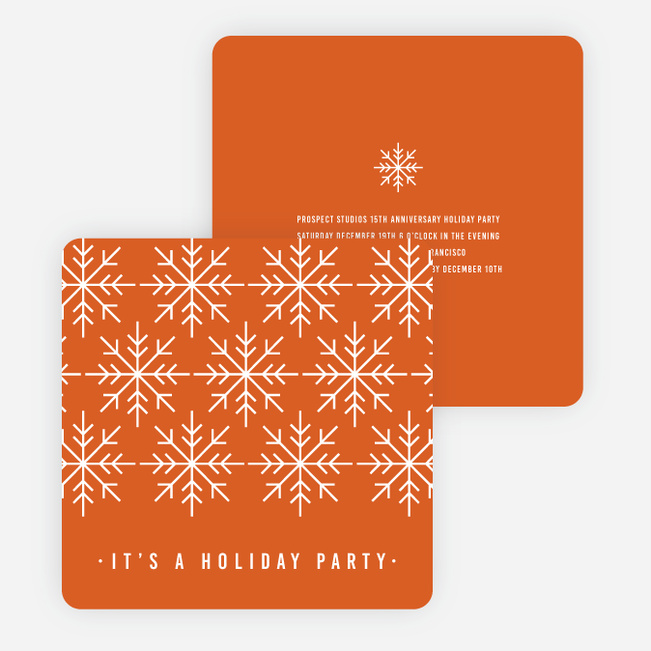 Snowflake Holiday Party Invitations - Orange