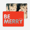 Be Merry Foil Holiday Photo Cards - Red