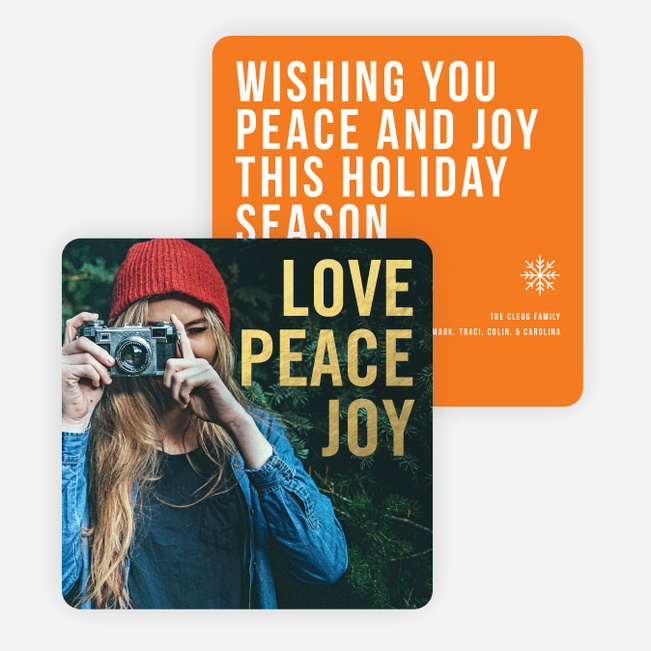 Big and Bold Foil Holiday Cards - Orange