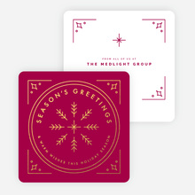 Classic Foil Snowflake Corporate Holiday Cards - Red