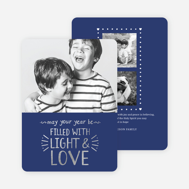 Foil Christmas Cards Filled with Light & Love - Blue