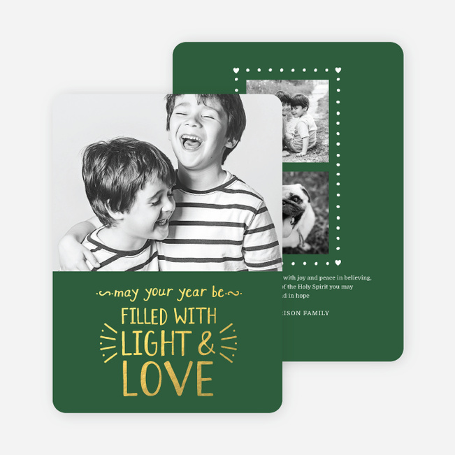 Foil Christmas Cards Filled with Light & Love - Green
