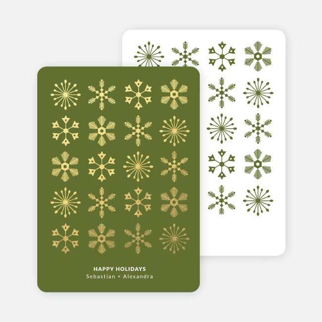 Foil Corporate Snowflakes Holiday Cards - Green