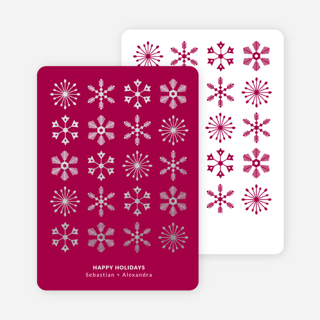 Foil Corporate Snowflakes Holiday Cards - Pink