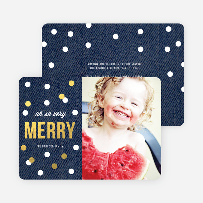 Foil Holiday Card of Circles: Confetti, Ornaments or Snow? - Blue