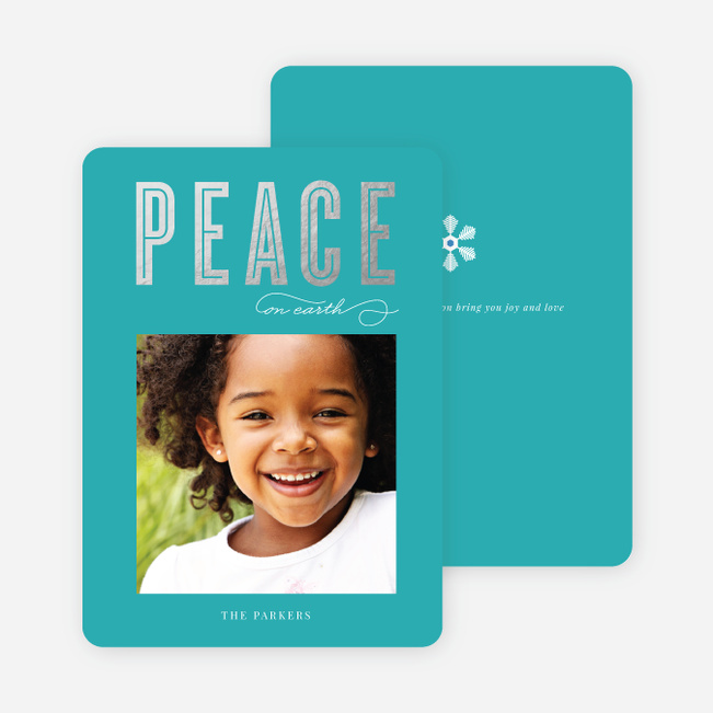 Foil Peace Holiday Cards - Blue
