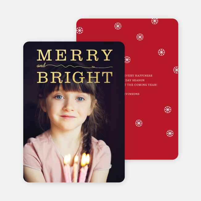 Foil Snow Flurry Merry & Bright Holiday Cards - Red
