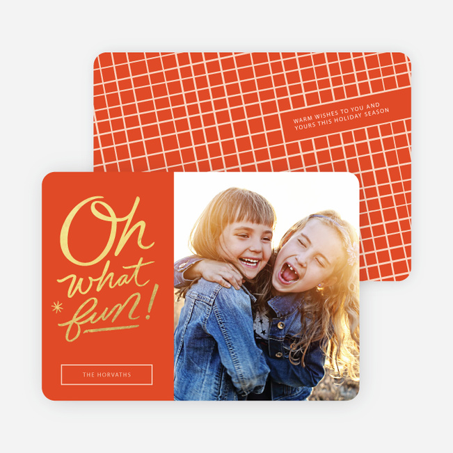 Oh What Fun Foil Holiday Cards - Orange