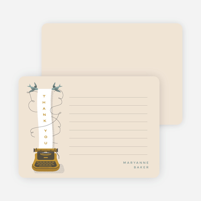 Vintage Typewriter Stationery - Beige