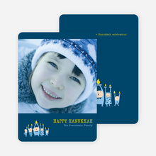 Case of the Missing Menorah Candle Hanukkah Card - Navy Blue