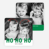 Floating Santa Hats Christmas Cards - Green