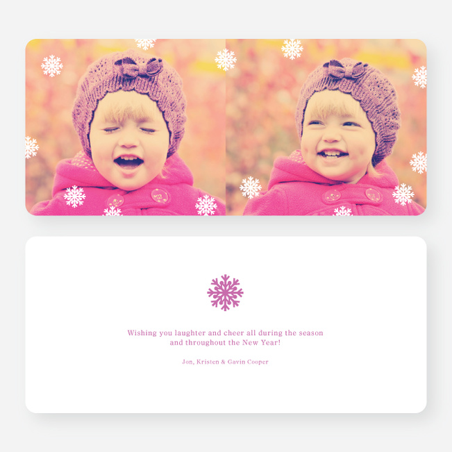 Fluttering Snowflake Holiday Photo Cards - Purple