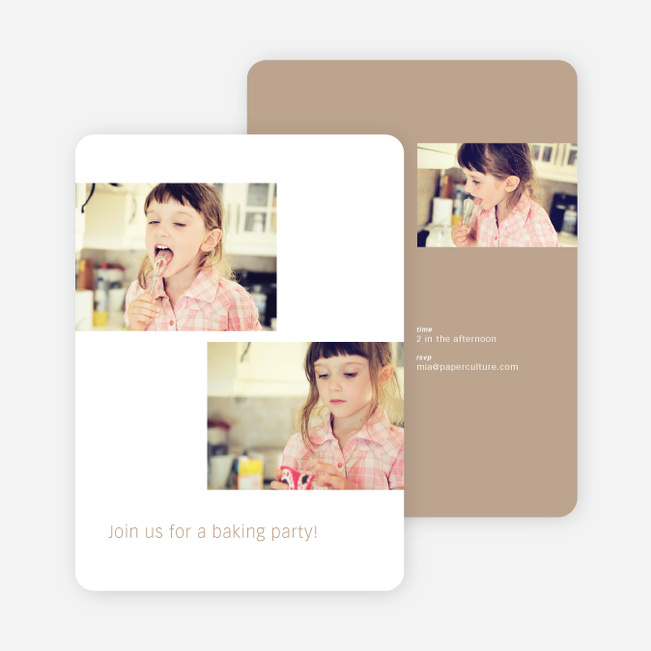 Photo Birthday Party Invitations - Beige