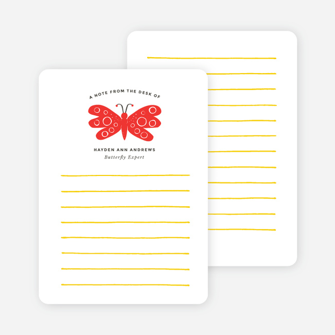 Butterfly Notecards - Red