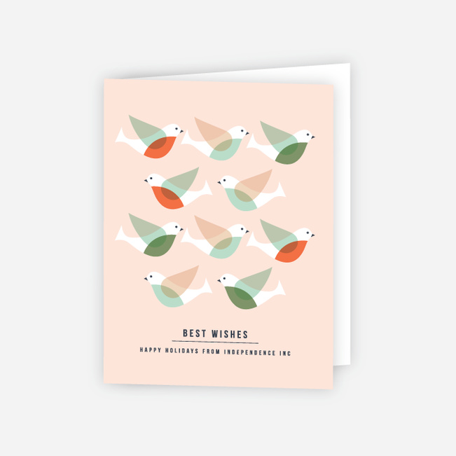 Doves and Peace Corporate Holiday Cards - Red