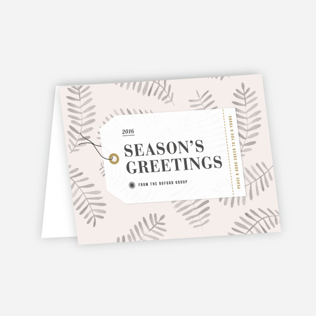 Festive Leaves Corporate Holiday Cards - Beige