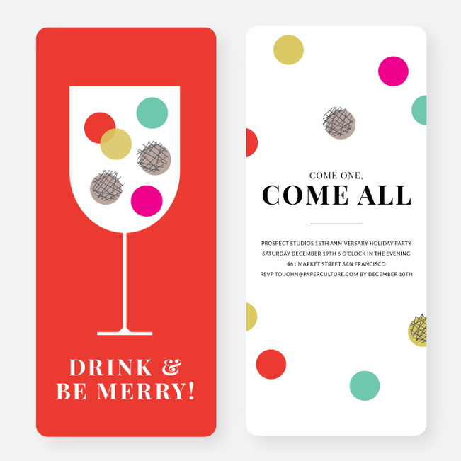 Polka Dots Toast Holiday Party Invitations - Multi
