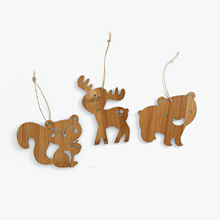 Squirrel, Bear & Moose Animal Christmas Ornaments made of Bamboo - Brown