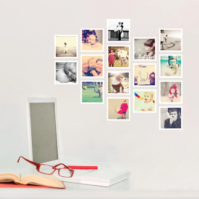 16 Custom Photo Wall Stickers - White