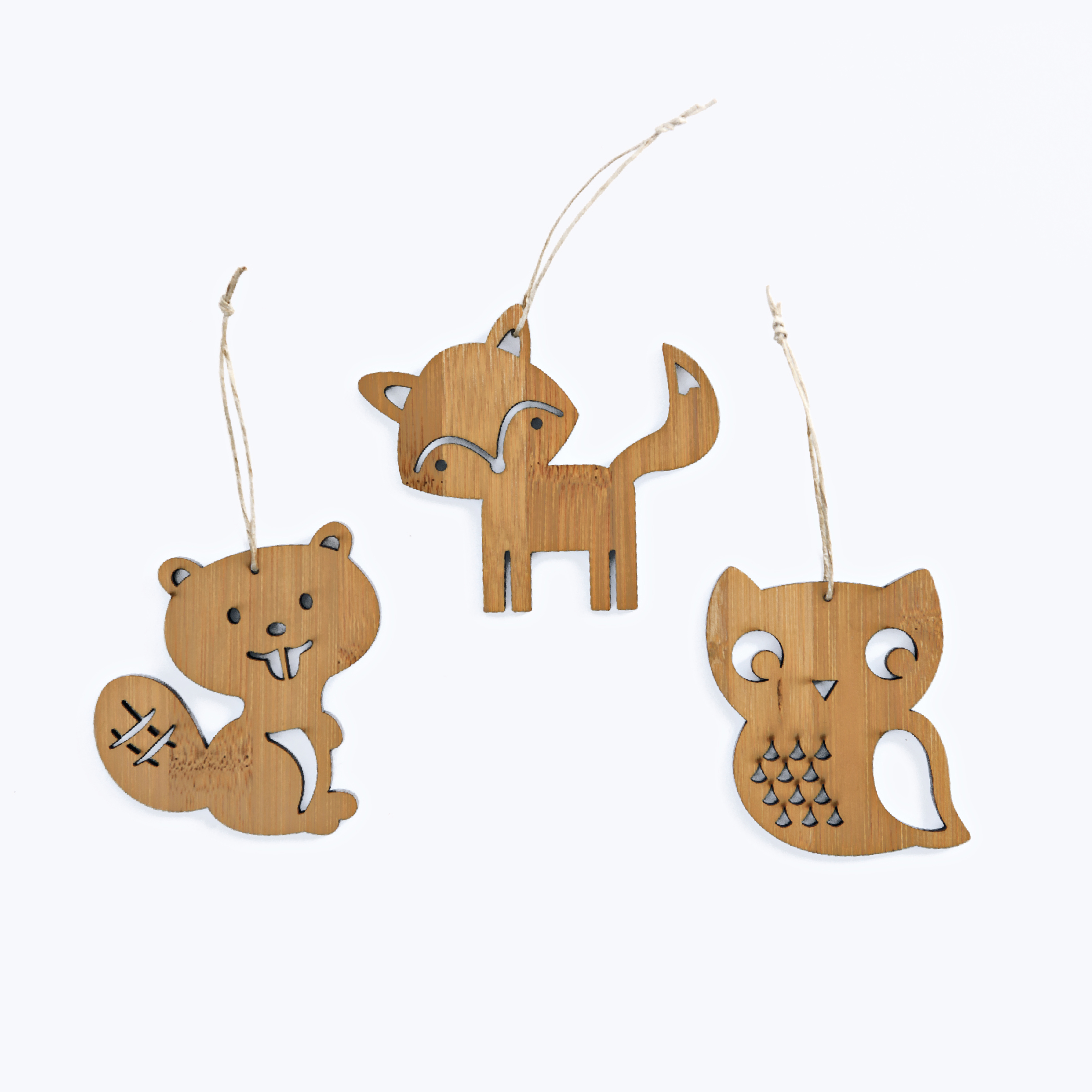 Animal ornaments - 3 Bamboo Christmas Ornaments Other View